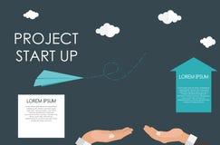Helping Hand. Quick Start Up Flat Concept. Vector Illustration. royalty free illustration