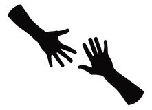 Helping hand silhouette Stock Photography