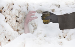 Helping hand in snow Royalty Free Stock Photo