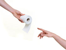 Helping hand with toilet paper Royalty Free Stock Photo