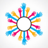 Helping hand vecto. Colorful helping hand label background Royalty Free Stock Photo