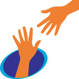Helping hand. Vector illustration helping hands logo Stock Images