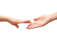 Helping hand on white isolated backgrund Stock Images