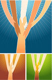 Helping Hands. Conceptual illustration of teamwork effort, hands helping out Royalty Free Stock Images