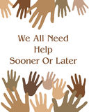 Helping hands. Hands reaching illustration assorted colors white background Stock Photography