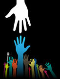Helping Hands. Vector background illustration with helping hand concept on black Royalty Free Stock Image