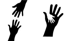 Helping Hands. An illustration of helping hands with white background Stock Photography