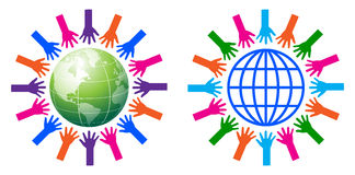 Helping hands around the globe. Simple illustration of helping hands around the globe Royalty Free Stock Photography