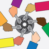 Helping Hands. Diverse group of people working together on a project with tools Stock Image