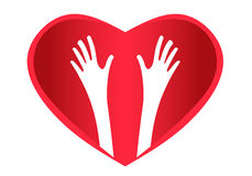 Helping Hands Heart logo. Two helping hands inside heart Stock Photos