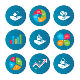 Helping hands icons. Medical health insurance. Royalty Free Stock Photo