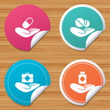 Helping hands icons. Medical health insurance. Stock Photo