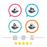 Helping hands icons. Medical health insurance. Stock Image