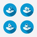 Helping hands icons. Medical health insurance Royalty Free Stock Photography
