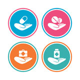 Helping hands icons. Medical health insurance. Stock Photos
