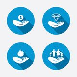 Helping hands icons. Protection and insurance Stock Photo