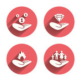 Helping hands icons. Protection and insurance. Helping hands icons. Financial money savings, family life insurance symbols. Diamond brilliant sign. Fire Stock Photos
