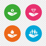 Helping hands icons. Protection and insurance. Helping hands icons. Financial money savings, family life insurance symbols. Diamond brilliant sign. Fire Royalty Free Stock Image