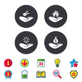 Helping hands icons. Protection and insurance. Royalty Free Stock Photo