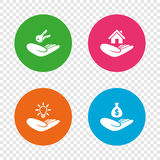 Helping hands icons. Protection and insurance. Stock Photography