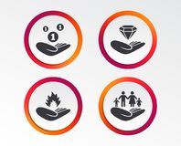 Helping hands icons. Protection and insurance. Helping hands icons. Financial money savings, family life insurance symbols. Diamond brilliant sign. Fire Royalty Free Stock Images