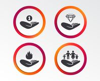 Helping hands icons. Protection and insurance. Helping hands icons. Financial money savings, family life insurance symbols. Diamond brilliant sign. Fire Stock Image