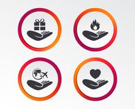 Helping hands icons. Protection and insurance. Helping hands icons. Health and travel trip insurance symbols. Gift present box sign. Fire protection Stock Photo