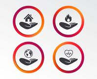 Helping hands icons. Protection and insurance. Helping hands icons. Health and travel trip insurance symbols. Home house or real estate sign. Fire protection Stock Images
