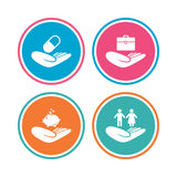 Helping hands icons. Protection and insurance. Helping hands icons. Protection and insurance symbols. Financial money savings, health medical insurance. Human Stock Photo