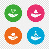 Helping hands icons. Protection and insurance. Helping hands icons. Protection and insurance symbols. Financial money savings, save forest. Diamond brilliant Stock Image