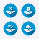 Helping hands icons. Protection and insurance Royalty Free Stock Photo
