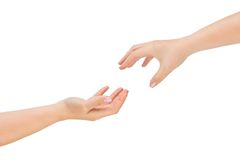 Helping hands. Isolated on a white background Stock Images