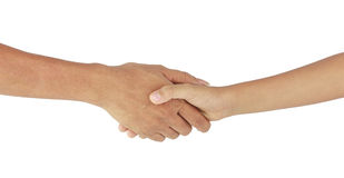Helping hands isolated on white. Helping hands - handshake with love isolated on white stock photos