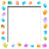 Helping hands poster. Volunteer poster assorted color hands frame cutout center illustrated Royalty Free Stock Photography