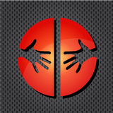 Helping hands red icon Stock Images