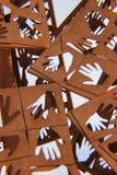 Helping Hands Scuplture. Iron Sculpture of Helping Hands Stock Image