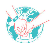 Helping hands, support. Rescue, aid to the background of the world. Icon in a linear style Stock Photos