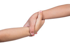 Helping hands of two children. In isolated white background Stock Photos