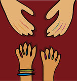 Helping hands (vector). Illustration of a helping hands and a child hands stock illustration