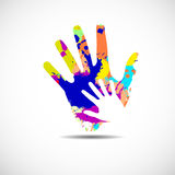 Helping hands. Vector illustration on white background Stock Photos