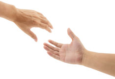 Helping hands. On white background stock image