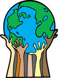 Helping Hands for the World. This is the Earth being helped by all the people who live upon her Stock Photos