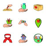 Helping icons set, cartoon style Royalty Free Stock Photo