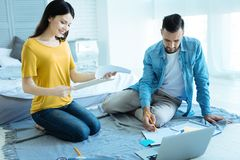 Mindful couple working together indoors Royalty Free Stock Photos