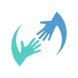 Helping logo hands. Color icon  on white background. Charity support. Caring people. Hope symbol. Vector illustration flat style. Template design. Teamwork Stock Photo