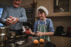 Helping Make Christmas Dinner royalty free stock photo