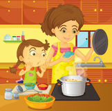 Helping mom at home. Illustration of girl helping her mom prepare dinner Stock Images