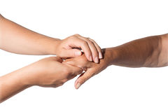 Helping the needy. Helping hands an old - assistance stock photo