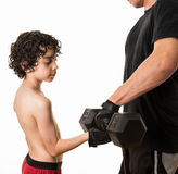 Helping new generations to exercise stock image