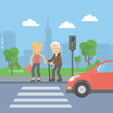 Helping old man. Woman helps an old man to cross the road and held the bags vector illustration